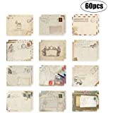 60Pcs Greeting Card Envelopes, Cute Retro Lovely Vintage Special Mini Envelope for Christmas, Wedding, Birthday Party (12 Dif
