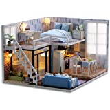 CuteBee DIY木製ドールハウス、メゾネットタイプ、手作りキットセット、ミニチュアコレクション、付属LEDライト…