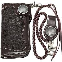 (レザーウォレット) 本牛革×ワニ革(クロコダイル) 長財布 レザーチェーン付 ダークブラウン×ダークブラウン W-36C