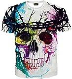 (ピゾフ)Pizoff メンズ Tシャツ 夏服 丸首半袖 高品質 ホワイト ドクロ柄 プリント ファション  ヒップホップスタイル 迫力 着心地良い トップス  Y1625-18-L