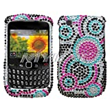 Hard Diamante Protector Skin Cover (Faceplate/Snap On) Full Rhinestones Diamond Bling for RIM Blackberry Curve 8520 AT&T, T-Mobile - Bubble