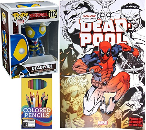 Deadpool Coloring Bookイメージ+ Colored Pencils & Marvel ExclusiveデッドプールX - Men Pop 。Miniキーチェーンパック図シリーズスーパーヒーローアートセット