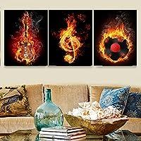 アートポスター 絵画 ブラックバーニングギターポップ モダン-アートパネル 絵画 インテリア 壁掛け- モダン 壁飾り- 写真 - 印刷布製 - キャンバス絵画 3パネルセット