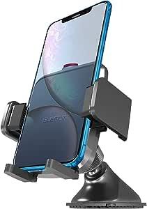 エレコム 車載ホルダー スマホスタンド 吸盤式 【繰り返し使えるゲル吸盤 / 360度回転で自由自在 / フラップケース対応】 幅4.5cm~9cm対応 ブラック EC-SH01BK