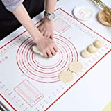 GWHOLE Large Silicone Baking Mat 60cm x 40cm Reusable Non Stick Dough Mat with Measurement for Pastry Rolling and Other Recip
