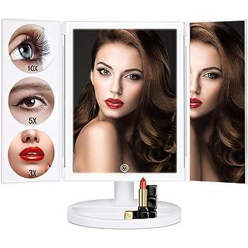 Liaboe 化粧鏡 LED三面鏡 特大のサイズ46*37cm LEDライト付き 卓上 スタンドミラー 3倍 5倍 10倍拡大鏡付き 拡大ミラー メイクミラー 折りたたみ式 上下180° 水平360°回転 明るさ調節可 小物入れつき USB&単三電池給電 贈答品 プレゼント ホワイト