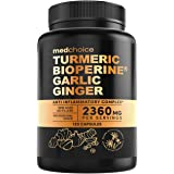 4-in-1 Turmeric Curcumin w Bioperine 2360mg (120 ct) | 95% Curcuminoids, Ginger Root, Garlic Pills, Black Pepper | Anti Infla