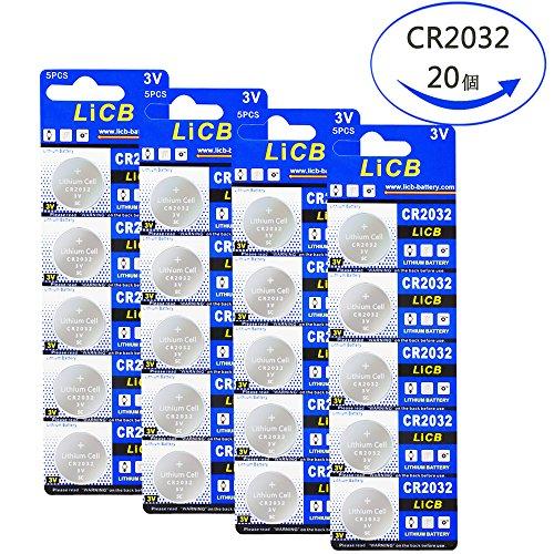 LiCB 20個 CR2032 ボタン電池 3v 2032 ...