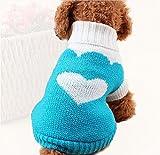Onuneed(オンユニード) 冬 ベット用品 犬の服 秋冬服 6サイズ選択可能 ハート、イチゴ、可愛いクラシックラペル (10, ハート_ブルー)