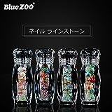 BlueZOO (ブルーズー) クリスタルボトル 4種類 マルチサイズ ネイルアクセサリー + Vカットダイヤモンド + ジェムサークル + タイニービーズ ネイルパーツ