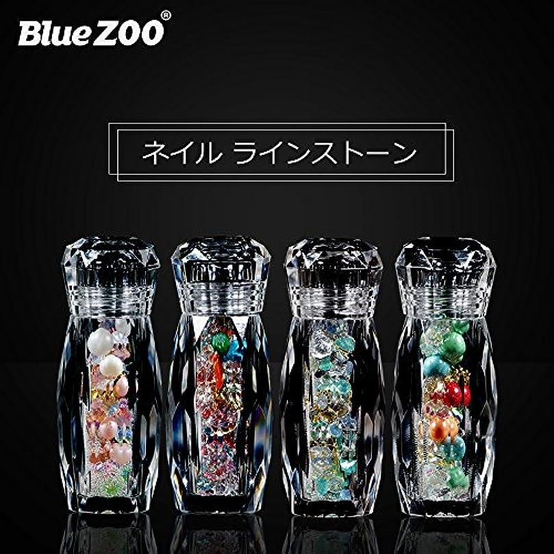チラチラするポスト印象派傾いたBlueZOO (ブルーズー) クリスタルボトル 4種類 マルチサイズ ネイルアクセサリー + Vカットダイヤモンド + ジェムサークル + タイニービーズ ネイルパーツ