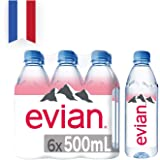Evian Natural Mineral Water, 500ml (Pack of 6)