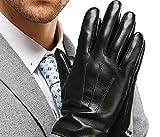 HARRMS 紳士のおしゃれ メンズ レザーグローブ  防寒 裏起毛 スマホ対応 プレゼントに最適 (L - 22.60CM, ブラック)