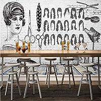 Mbwlkj 写真壁紙美容室ショップレンガ壁理髪店背景カスタム壁画ステレオ高品質壁紙-250cmx175cm