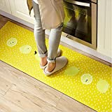 """USTIDE Anti-Fatigue Designer Comfort Kitchen Floor Mat, 17.7X31.5"""", Modern Grasscloth Pecan Stain Resistant Surface With 0.4Cm Thick Ergo-Foam Core For Health And Wellness"""