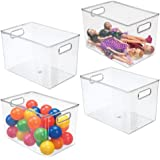 mDesign Deep Plastic Home Storage Organizer Bin for Cube Furniture Shelving in Office, Entryway, Closet, Cabinet, Bedroom, La