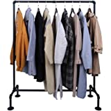 OROPY Industrial Pipe Garment Rack Free Standing, Heavy Duty Detachable Clothes Rail with 4 Stable Feet for Clothing Storage