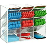 NIUBEE Acrylic Desk Organizer, Clear Pen Pencil Holder for Office School Stationary Art Craft Supplies Storage with 12 Compar