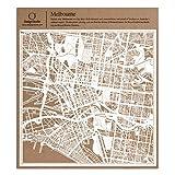 メルボルン切り絵地図、白、30x30センチ、オリジナルデザインペーパーアート、アイデアギフト