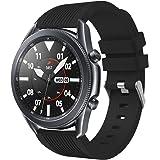 VICARA バンド Compatible with Galaxy Watch 3 45mm/Galaxy Watch 46mm バンド 交換用 22mm ベルト 柔らかい シリコン Galaxyウォッチ3 45mm バンド (ブラック)