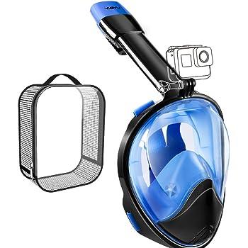 WEYN シュノーケルマスク 180°超広角 防曇リ 浸水防止 無臭 液体シリコン 改良ドライシュノーケル 口からも鼻からも呼吸 スポーツカメラ取付可能 シュノーケリング 男女兼用 夏 高品質グリッドバッグ …