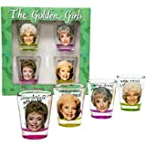 Golden Girls Shot Glasses   Fun Drinking Games   Set of 4 Collectible Glasses   Perfect For Parties, Game Night, Bachelor, Ba