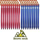 Brave rock テント ペグ 20本セット 18cm 2カラー 軽量ジュラルミン製 Yペグ収納袋付き
