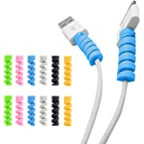 12-Pack Spiral Charging Cable Protector Wire Protectors Cable Management Organizer Protective Cord Sleeve Line Saver for iPho