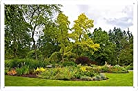 自然草公園グリーンガーデン木の花のティンサイン 金属看板 ポスター / Tin Sign Metal Poster of Nature Grass Park Green Garden Trees Flowers