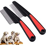 (2 Pack Fine and thick needles ) Dog and Cat Lice Flea Comb,Pet Grooming Comb, Fur Detangling Tool, Grooming and Massage Stai