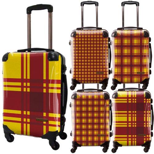カラーチェックモダンスーツケース/ベーシック/フレーム4輪/TSAロック/機内持込可能/キャラート/ギンガムチェック/イエロー/CRA01-023UY
