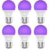 Onforu UV LED Black Lights Bulb, 7W A19 E26 Bulb, UVA Level 385-400nm, Glow in The Dark for Blacklights Party, Body Paint, Fl