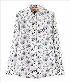 (フムフム) fumu fumu ブラウス 長袖 おおきいサイズ シャツ レディース 花柄 ファッション かわいい カジュアル フォーマル ビジネス 上品 ホワイト ピンク ブルー チェリー S M L XL (F. 白 青花 M)