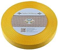 (20 Yards, Gold) - Country Brook Design Heavy Nylon Webbing (2.5cm )