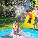 噴水マット プール噴水 水遊び プレイマット 子どもおもちゃ PVC プール子供用 トイ キッズ 親子遊び プールマット 夏対策 庭の中に遊び 家族用 芝生遊び プレゼント アウトドア 170CM 画像