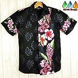 メンズアロハシャツ ブラック地/ピンク花柄 黒色/ 桃色 コットン ハワイ仕入 (US XLサイズ)