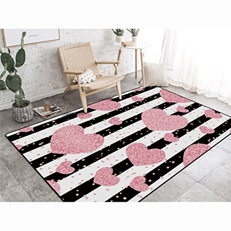 CB ピンクのカーペット、ロマンチックな創造的なリビングルームのベッドルームのベッドサイドカーペット家庭用床マットルのクローゼットの長さ80~140センチメートル 繊維敷物 (色 : A, サイズ さいず : 140 * 200CM)