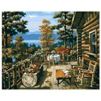 ニヤースさんの店 DIY 数字油絵 塗り絵 キットコレクション 40x50cm ホーム オフィス装飾 (湖畔のベランダ, フレームレス)