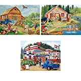 Bits and Pieces???3つのセット( 3?) 300ピースジグソーパズルfor Adults???Americanaコレクション???300?pc Jigsaws by Artist Kay Lamb Shannon