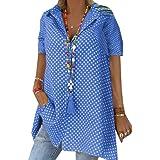 FSSE Women Short Sleeve Button Down Polka Dot Print Casual Shirt Blouse Top
