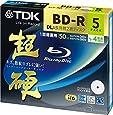 TDK 録画用ブルーレイディスク 超硬シリーズ BD-R DL 50GB 1-4倍速 ホワイトワイドプリンタブル 5枚パック 5mmスリムケース BRV50HCPWB5A