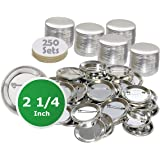"""2.25 inch Round BackPin Buttons (250 Pack) Sets for Badge Making 2 1/4"""" (56 mm)"""