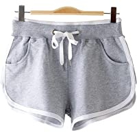 KOUTEI レディース ショートパンツ 綿 短パン スポーツ 夏 フィットネスゴム ポケット 柔らかい 通気性 伸縮性…