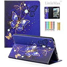 LittleMax(TM) Fire HD 8 Case,Colorful PU Leather Kickstand Protective Cover with Auto Wake/Sleep for Amazon Kindle Fire HD 8 8th Gen 2018 Release & 7th Gen 2017 Release -01 Purple Butterfly