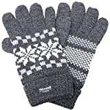 (エクサス)EXAS 雪柄(スノー SNOW)紳士ニット手袋 ダークグレー