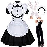 Sweet Japanese Anime Sissy Maid Cosplay Lolita Fancy Apron Maid Black Dress Socks Gloves Set