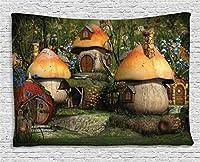 """ファームHouse装飾タペストリーby Ambesonne、英国の村のイングランドOld Stone HousesブリッジHistoric Streetイメージ、寝室リビングルームの壁ハンギング寮、グレーグリーン 80"""" W By 60"""" L 14187303"""