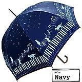 Clack 傘 晴雨兼用 雨傘 日傘 ジャンプ傘 シルバーコーティング 紫外線99%カット 猫 音符 柄 ポップデザイン UVカット レディース ネイビー Free 【正規品】
