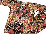 【金彩牡丹と桜・黒赤】 義若オリジナルの鯉口シャツ単品 男女兼用 (M 中サイズ)