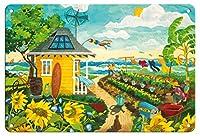 22cm x 30cmヴィンテージハワイアンティンサイン - 幸せに一度 - トロピカルパラダイスビーチハウス - ハワイ - ハワイ諸島 - オリジナルの水彩画からのもの によって作成された ロビン アルトマン